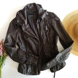 Allsaints | Belvedere Bitter Brown Leather Jacket